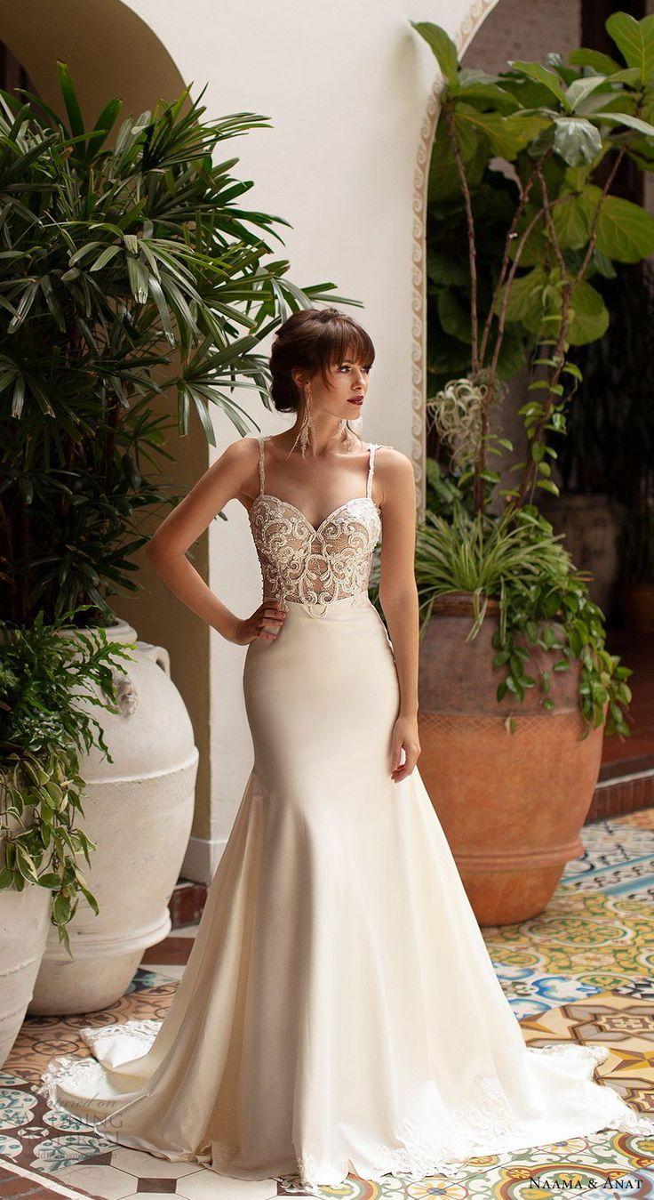 "1a6daebffb39 naama anat 2019 bridal sleeveless beaded straps embellished bodice fit  flare wedding dress chapel train elegant romantic (1) mv -- Naama & Anat  2019 "" ..."