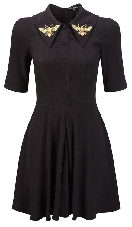 black vintage style shirt dress with a-line shirt and gold bees embroidered in the collar Wings