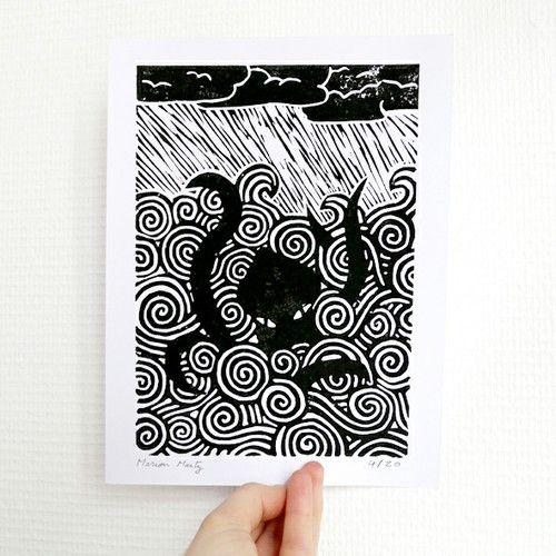 Linogravure Kraken - Impression originale avec encre noire, numérotée et signée