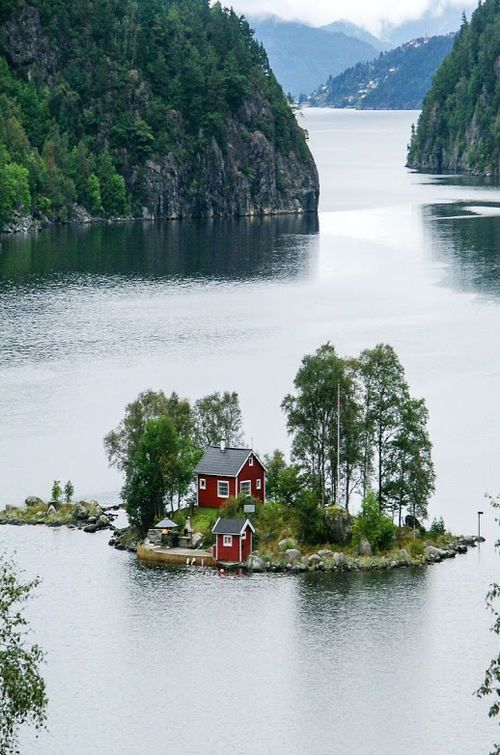 Little island set in the Norwegian fjords