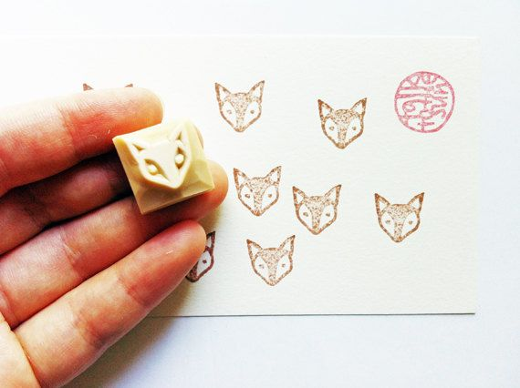 baby fox hand carved rubber stamp. woodland animal by talktothesun
