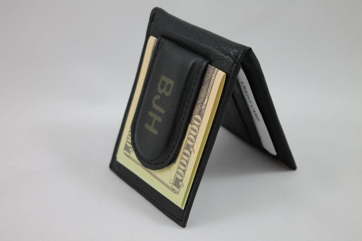BEST Groomsmen Gift -- BLACK Leather Wallet & Money Clip --Initials or short name engraved FREE!