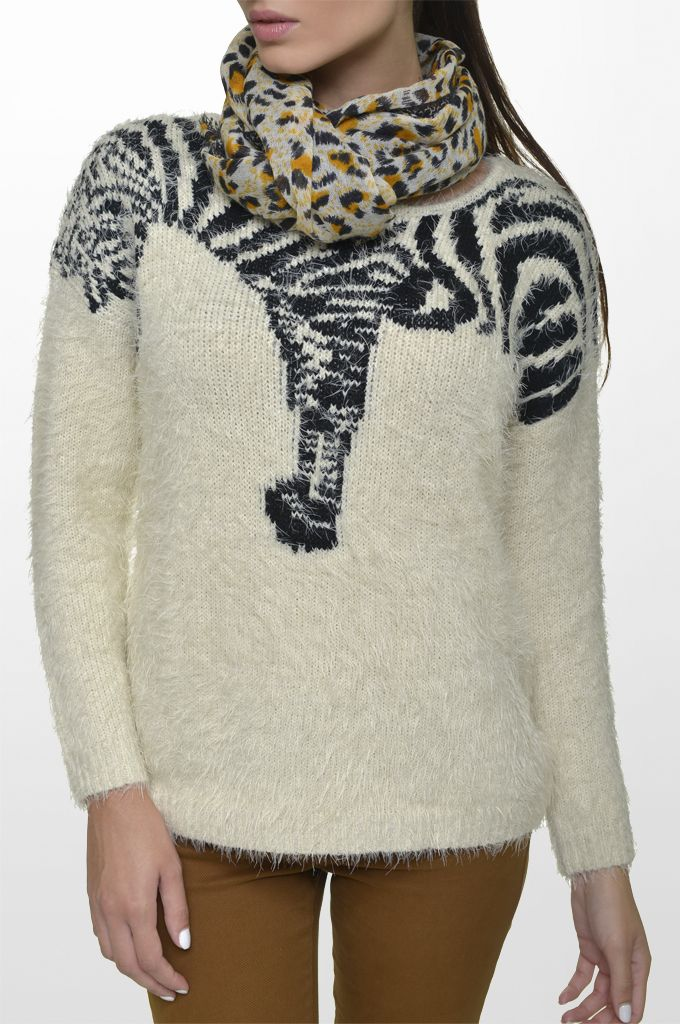 Sarah Lawrence - bat sleeve sweater, five pocket skinny pant, printed scarf.