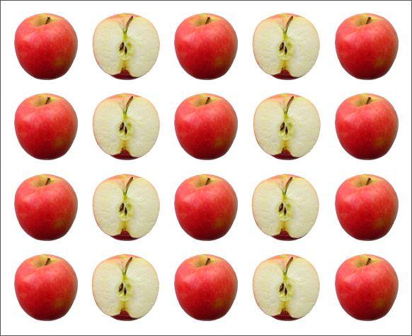 Ley de Semejanza: Se es más fácil ver las manzanas como 4 columnas que como filas horizontales, ya que se agrupan por su similitud.
