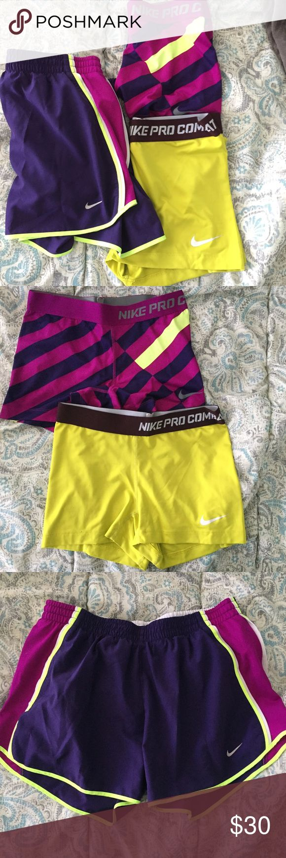 Nike Pro Compression and Dry Fit Shorts Two pairs of Nike pro compression shorts. One is yellow with brow detail and the other is purple striped with some neon yellow detail. The dry fit shorts are also purple with neon yellow detail. All are a size medium!! Nike Shorts