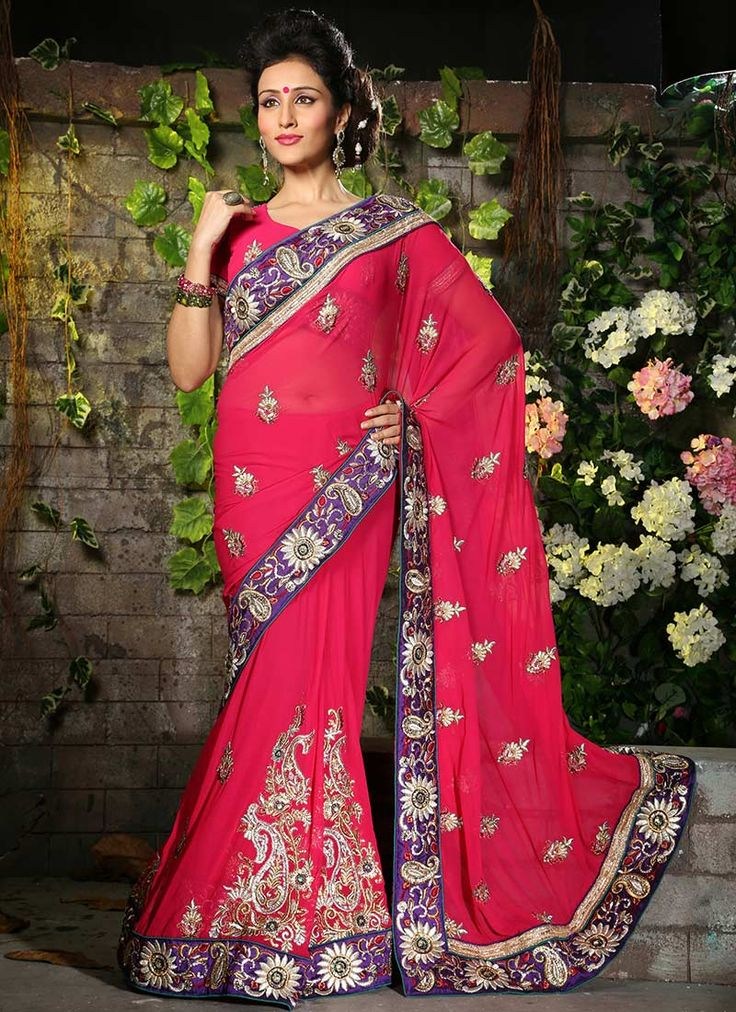 Exclusive Pink Color Designer #Georgette #Saree