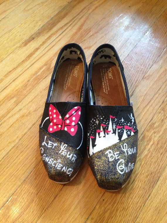 Minnie Mouse Disney Custom Toms Shoes disney by ButterMakesMeHappy