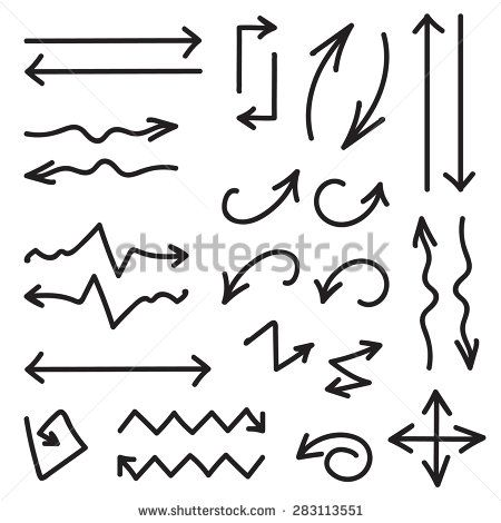 Vector black set of 26 hand drawn arrows in eps - stock vector