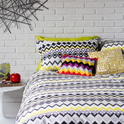Geometric bedlinen. For more easy ways to decorate a rented home this click the picture or visit redonline.co.uk