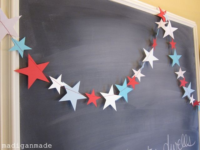 board: Paper Stars, Fun Recipe, 4Thofjuli, Fourth Of July, Parties, 4Th Of July, Holidays, Stars Garlands, Banners