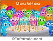 Tarjetas, postales: Fiesta de cumpleaños con saludo