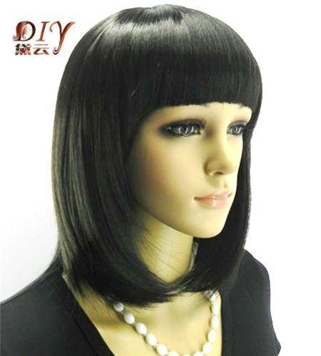 Кк 003205 Vogue Женщины Черные Прямые Синтетические Волосы Полный Партии Cosplay Парик Средней Длины Парики