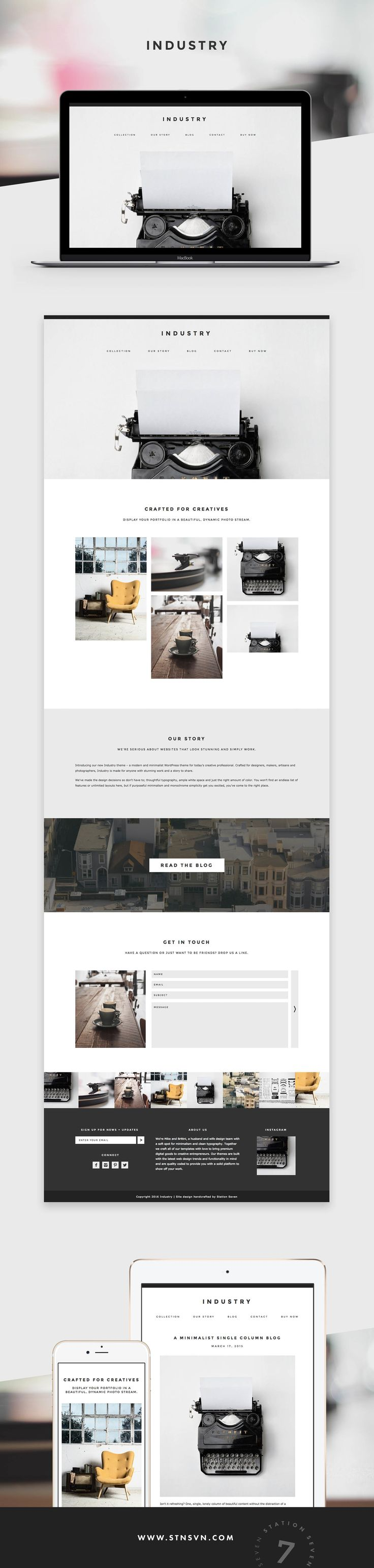 Industry is a modern and minimalist WordPress theme for today's creative professional crafted by Station Seven.