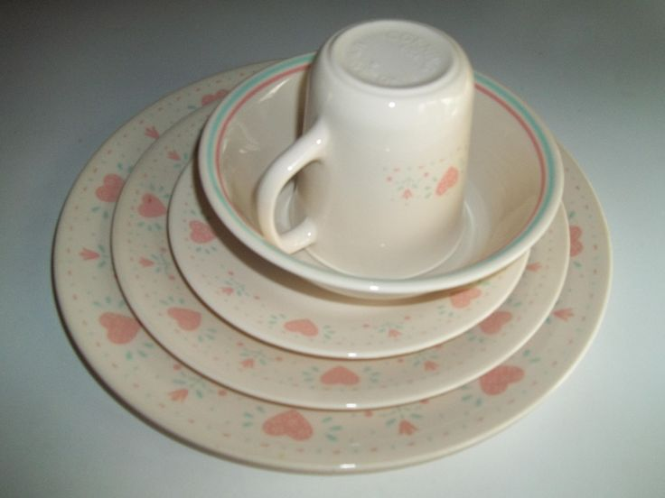 5 Piece Corelle Forever Yours Dinner Set by PyrexKitchen on Etsy