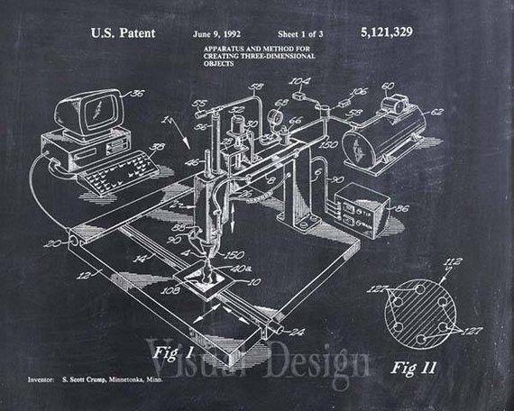 3d Printer Patent Print Patent Art Print Patent Poster Blueprint Patent Art Prints Patent Art Patent Prints