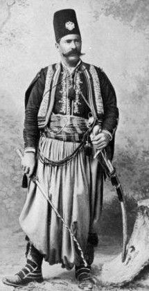 Syrian landlord in traditional costume.  Late-Ottoman era, c. 1900.