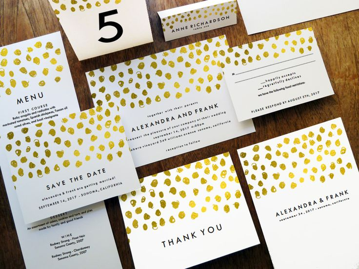 Printable Wedding Invitation Kit   Gold Dots