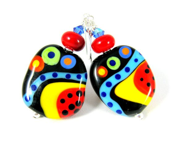 Colorful Funky Glass Earrings Abstract Black by GlassRiverJewelry