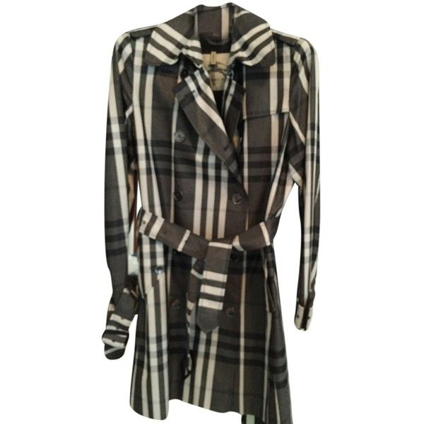 Pre-owned Burberry Trench Heritage Long Raincoat Trench Coat ($935) ❤ liked on Polyvore featuring outerwear, coats, burberry check, rain trench coat, burberry raincoat, burberry coat, long coat and trench raincoat