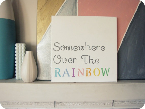 Amazing Somewhere Over The Rainbow   Canvas For Guests To Sign, Instead Of A Guest  Book