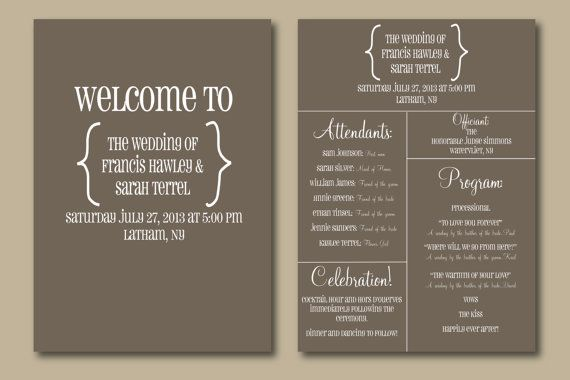 Thank You From Bride Groom On Back Instead Printable Wedding Program Typography Design My Best Friends Pinterest Programs