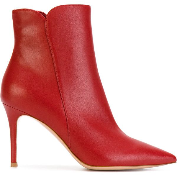 Gianvito Rossi pointed ankle boots ($1,055) ❤ liked on Polyvore featuring shoes, boots, ankle booties, red, red leather booties, pointed toe boots, leather bootie, pointy toe bootie and pointed-toe ankle boots