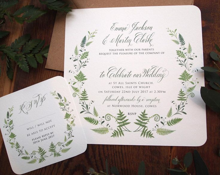 Botanical Woodland Fern Wedding Invitation -  is simple and rustic and features our forest fern circle illustration. Printed on textured Ivory Card. Perfect for an outdoor wedding or a ceremony in the woods. Contact us for more items in this design. Calligraphy menus for rustic, outdoor or quirky weddings. Rustic Fern Wedding Menu & Place Name Tag. Fern / Woodland themed wedding stationery / Botanical / Rustic Wedding / Bohemian style wedding / Green / Leaves / Leaf Wreath / Fern Circle
