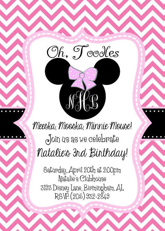 Chevron Birthday Invitations Minnie Mouse Chevron Birthday