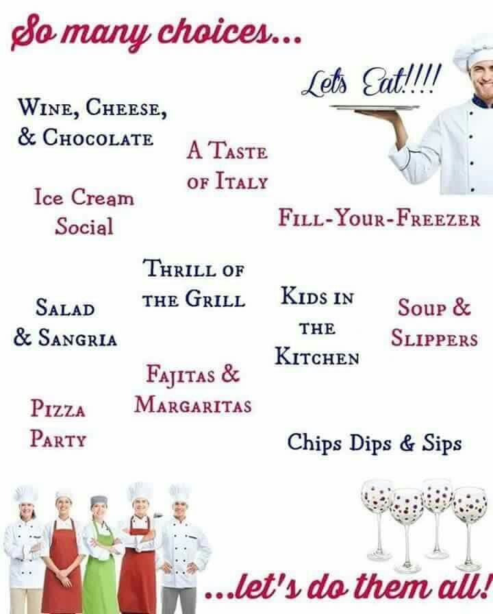 Are you looking for a fun night in with the girls or guys? Here are a few party themes I offer when you host a Pampered Chef Party with me! Get more info at www.pamperedchef.biz/adriansmith