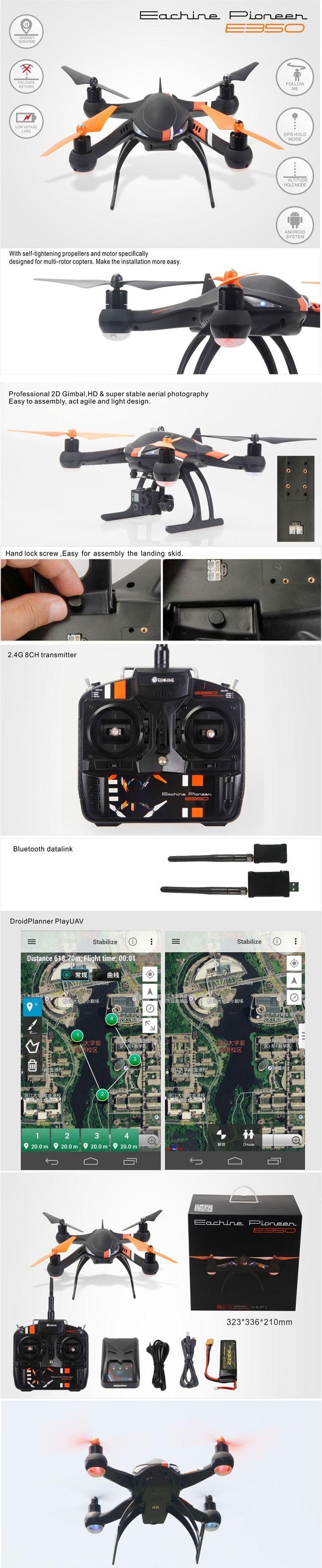 Eachine Pioneer E350 With GPS 915MHz Radio Telemetry Kit 2.4G 8CH RC Quadcopter RTF