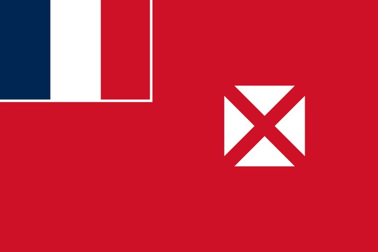 National flag of Wallis and Futuna from http://www.flagsinformation.com/wallis_and_futuna-country-flag.html  Unofficial, local flag has a red field with four white isosceles triangles in the middle, representing the three native kings of the islands and the French administrator; the apexes of the triangles are oriented inward and at right angles to each other; the flag of France, outlined in white on two sides, is in the upper hoist quadrant; the flag of France is the only official flag.