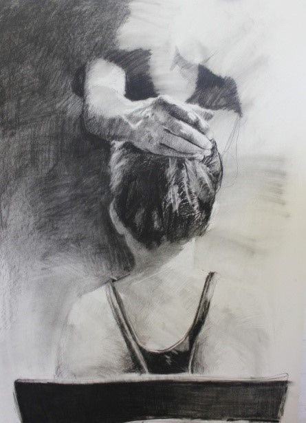 """Tanya Poole """"Untitled"""" from The Becoming Girl series. 2013, charcoal on Cannaletto"""