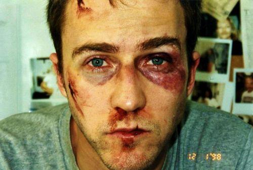 Edward Norton on the set of Fight Club, 1999.