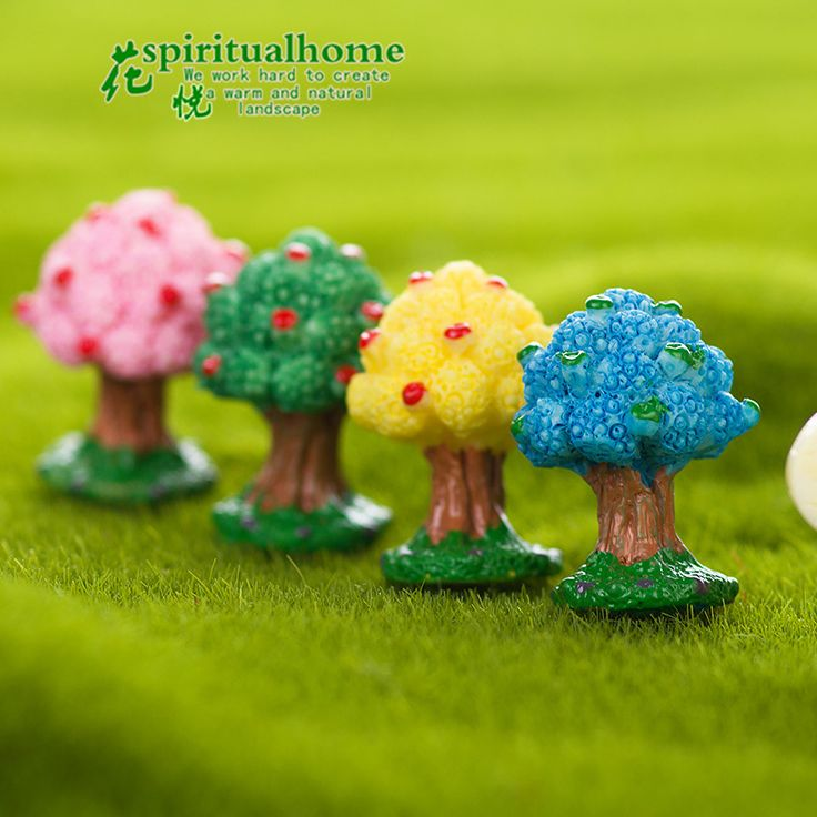 2Pcs/Set Kawaii Zakka Succulents Apple Tree Diy Resin Crafts Figurines Gardening Ornament Home Decoration Accessories