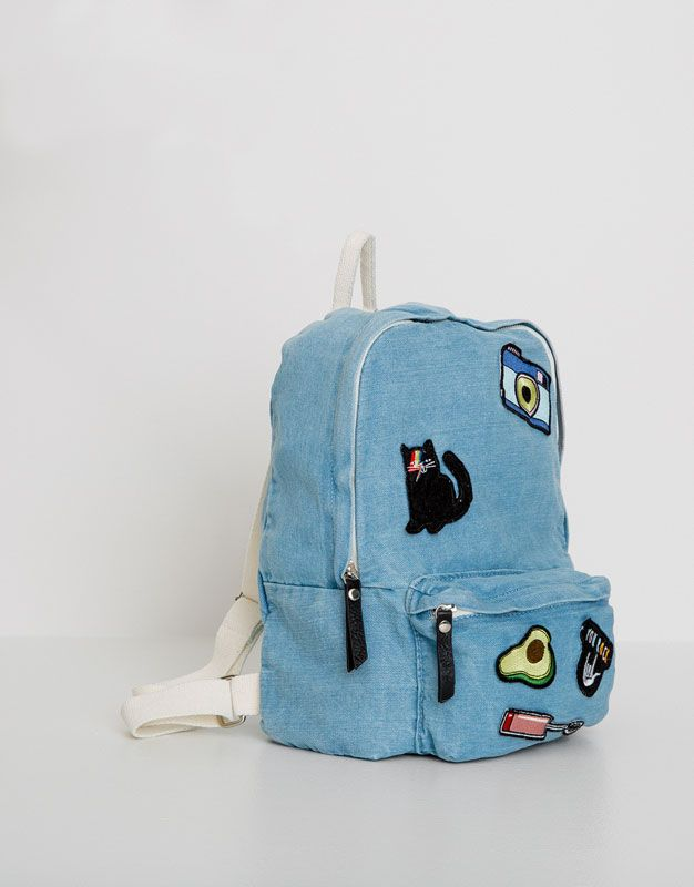 :DENIM BACKPACK WITH PATCHES