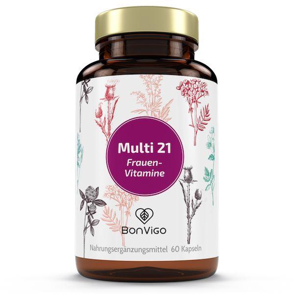 21 HOCHWIRKSAME NÄHRSTOFFE enthält unsere Rezeptur Multi 21 Frauen Vitamine. Abgestimmt ganz besonders auf die Bedürfnisse des weiblichen Körpers. Doch auch Männer nehmen sie (wenn auch manchmal heimlich), denn die Formel bietet ein...