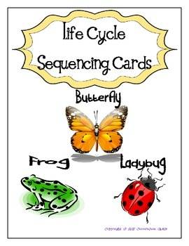 Free! Life Cycle Sequencing Cards - Butterfly, Frog and Ladybug!