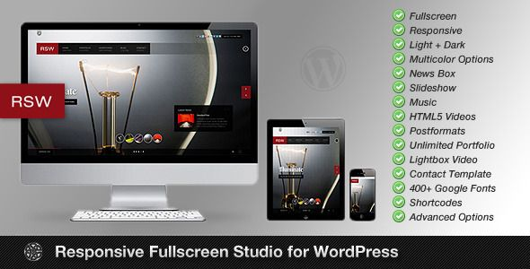 Responsive Fullscreen Studio for WordPress - ThemeForest Item for Sale