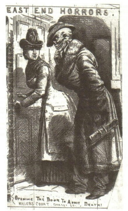 A newspaper cartoon depicting Mary Jane Kelly inviting Death into her room. In fact there is little evidence that Kelly allowed her murderer to enter willingly.