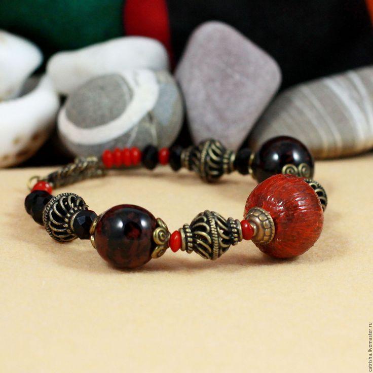 Купить Крупный браслет Изадора (яркое украшение, браслет в стиле этно, бохо)
