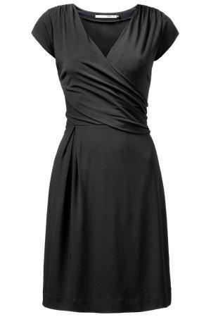 nauwsluitende jurk die de taille verlengt: ga altijd op zoek naar een jurk die je borsten lift en je taille langer doet lijken, korte soepel vallende mouwen volstaan om je bovenarmen te bedekken.