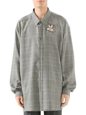 5e4fd84b GUCCI Oversize Prince Of Wales Check Embroidered Wool Button-Down Shirt. # gucci #