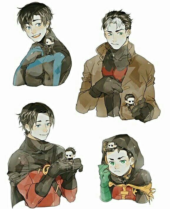Batboys. Nightwing, Red Hood, Red Robin, & Robin.
