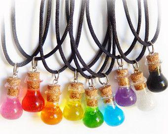 Black Unicorn Magic Unicorn Necklace Bottle by MadeByTokiToki