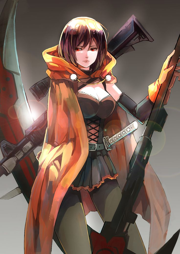 1girl alternate_costume black_hair breasts cape cleavage gloves gradient gradient_background gun highres katana lens_flare pantyhose rifle ruby_rose rwby scythe short_hair skirt sniper_rifle solo sword tagme weapon zhuxiao517