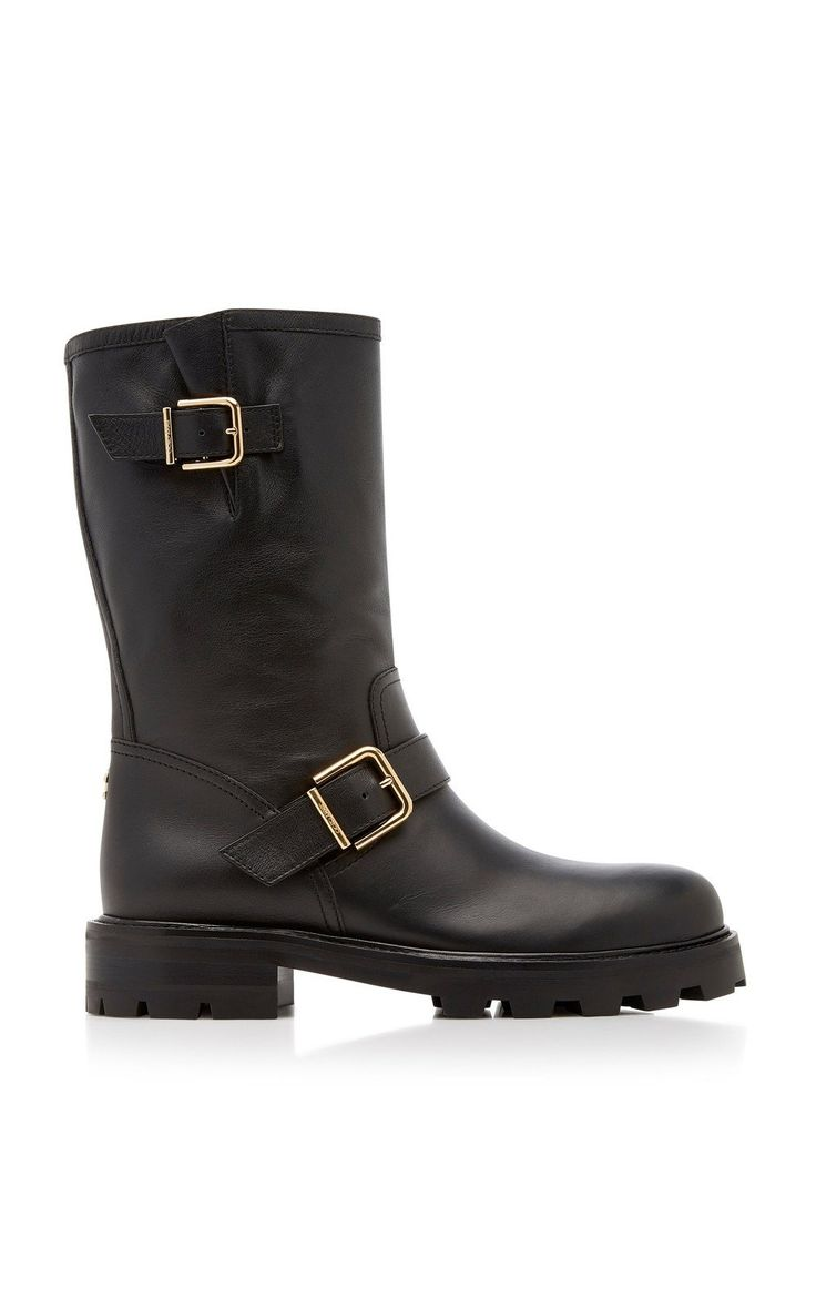 Biker Textured Leather Boots By Jimmy Choo Moda Operandi Boots Leather Boots Womens Designer Boots