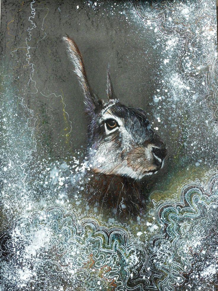 """door Krista Steegmans: """"Maartse haas"""" (inkt en pastelkijt)"""