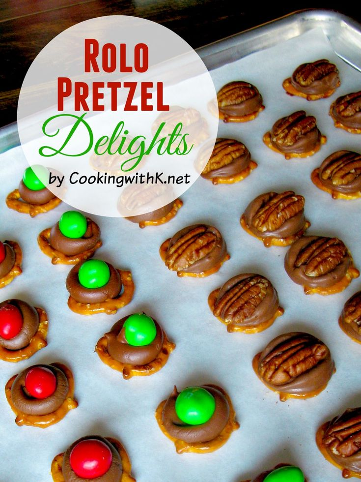 Rolo Pretzel Delights are incredibly delicious treats that will wow your family and friends. Adults and children alike will enjoy making them. The pretzel treats are easy and fun to make.  Everyone will go crazy for these sweet and salty treats.  www.cookingwithk.net