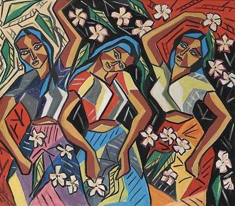 Oil on canvas by Senaka Senanayake, 1962.