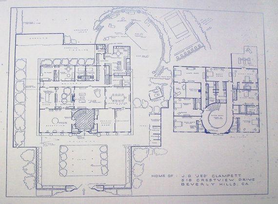 Beverly Hillbillies TV Show Mansion Blueprint